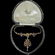 Antique 15ct Pearl Lavalier Necklace Pendant, English C.1890.