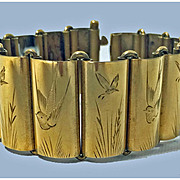 SALE Antique aesthetic Silver gilt Bracelet. English C. 1880.