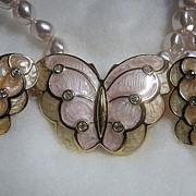SALE Necklace & Earrings SET KJL Kenneth J. Lane Enamel Butterfly Faux Pearl