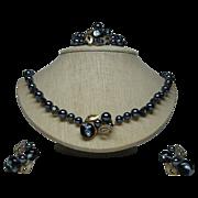 SALE Set of 3 Necklace, Bracelet, Earrings Signed Gunmetal Grey Faux Pearls/Art Glass Beads ..