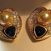 SALE Nolan Miller Earrings Heart Faux Sapphire & Sim Pearl Gold Tone