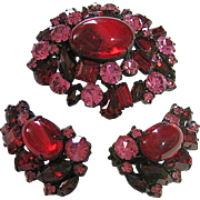 SALE Vintage Signed Robert Deep Red & Pink Rhinestone Japanned Brooch & Clip Earrings Set
