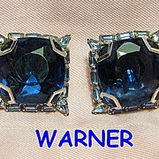 SALE Signed Warner Blue Big Faux Sapphire Squares & Baguette Rhinestones Silver Tone Earrings
