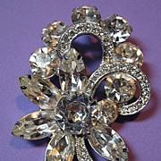 SALE Sparkling Rhinestone Signed Eisenberg Ice Vintage Brooch/Pin Bridal Flower & Ribbon