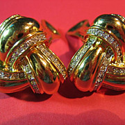 SALE Nolan Miller Earrings Classic Gold Tone Knot & Rhinestone Clip-On
