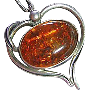 SALE Vintage Sterling Unusual Heart Honey Amber Cabochon Pendant / Pin Necklace