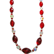 Vintage Long Necklace of Red Faceted & Aurora Borealis Glass Beads