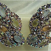 SALE Clip-Ons Earrings Rainbow Aurora Borealis Layered Rhinestone & Frosted Marquises