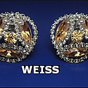SALE Vintage Signed Earrings Weiss Sparkling Topaz & Smokey Grey Rhinestone Silver Tone