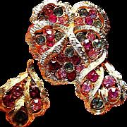 SALE Vintage Signed Coro Pansy Flower Earrings/ Brooch/Pin Fuchsia/Grey Rhinestone Flower Pans
