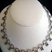 SALE Unique Late 1930's Artist Signed Mexican Silver Necklace