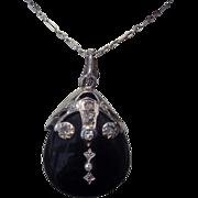 SALE Victorian Mourning Pendant - Diamond and Black Onyx