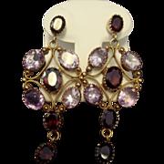 SALE Gorgeous Gilt Silver Garnet & Amethyst Earrings