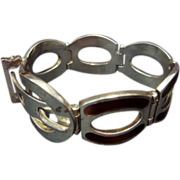 SALE SS Belt Buckle Bracelet, Brown Enamel