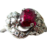 Exceptional 1.86 Carat Ruby and Diamond Ring, Palladium, 50's - ESTATE