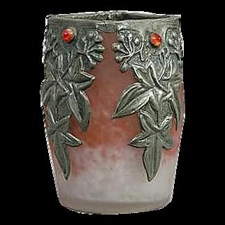 Art Nouveau Stunning Glass Vase, Pewter Overlay - FRANCE