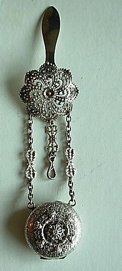 19th Century Ornate Pair Case Watch Chatelaine, Silver