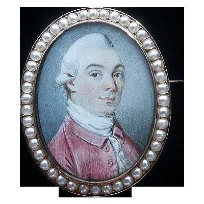 Fine Georgian Hand Painted Portrait Pin/Pendant 18K