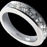 Fine 1 Carat Platinum Half Hoop Diamond Ring
