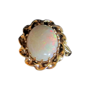 Antique Opal Ring, 14K Red Gold Mount