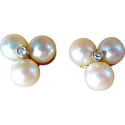 Pretty Cultured Pearl & Diamond Earrings,  14K
