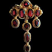 Fine Garnet Turban Pin, 18K - Victorian
