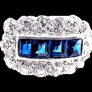 Art Deco 2.75 Carat Platinum Sapphire and Diamond Ring