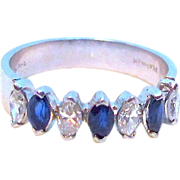Birks Platinum 1.40 carat Diamond and Blue Sapphire Ring