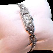 Art Deco - 2.27 Ct Diamond Set Platinum Wristwatch and Bracelet