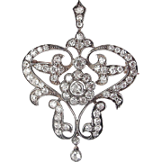 Victorian 5.75 Carat Diamond Brooch - Silver over 18K Red Gold