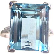 Art Deco Aquamarine and Diamond Ring - 13.28 Carat,  Platinum