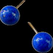 Lapis Orb Earrings, 10.5mm, 14K