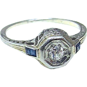18K Art Deco Diamond, Blue Sapphire Engagement Ring