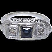 Art Deco 14K White Gold Sapphire and Diamond Ring