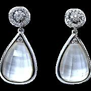 Fabulous Diamond  amd Rock Crystal Day-Night Earrings, 18K White Gold