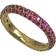 1.10 Carat Fine Red Ruby Pave Band - 14K