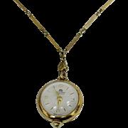 Bucherer 17 Jewel Ball Watch on Chain - Mid Century