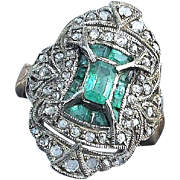 Emerald and Diamond Navette Ring, Silver and Gold - Late Victorian