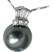 16.8mm Tahitian Pearl and Diamond Pendant on Chain