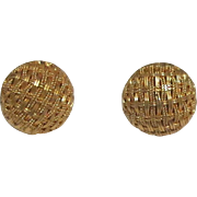 18K Yellow Gold Button Earrings - Italy