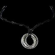 TIFFANY Diamond Set Silver Sevillana Pendant on Cord