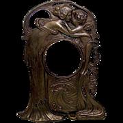 Art Nouveau Bronze Figural Pocket Watch Stand - Signed