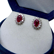 Beautiful 1.55 carat Red Ruby and Diamond Earrings, 18K White Gold