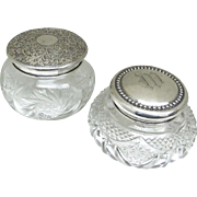 Sterling Lidded Crystal Dresser Jars - Victorian