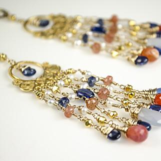 Mexican Fire Opal, Kyanite, Cultured Pearls, Sunstone, Natural Chalcedony, 18k Gold Vermeil, 14k Gold Fill Chandelier Earrings