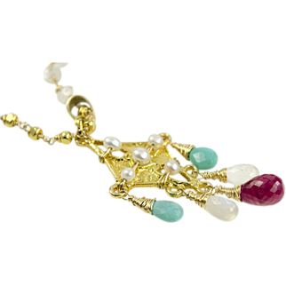 Pink Sapphire, Sleeping Beauty Turquoise, Moonstone, Gold Vermeil Necklace