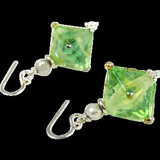 Lampwork glass, cultured pearl, sterling silver earrings