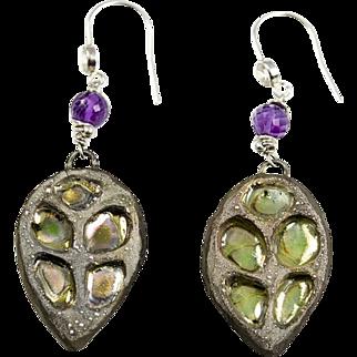 Raku, Amethyst, Cubic Zirconia, Sterling and Fine Silver earrings