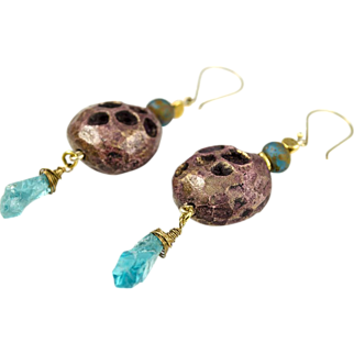 Hand carved Ceramic beads, Rough Apatite, 24k Gold Vermeil Earrings