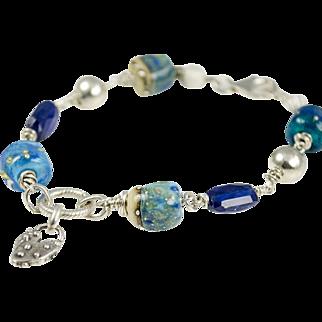 Lampwork glass, Kyanite, Silver Bracelet
